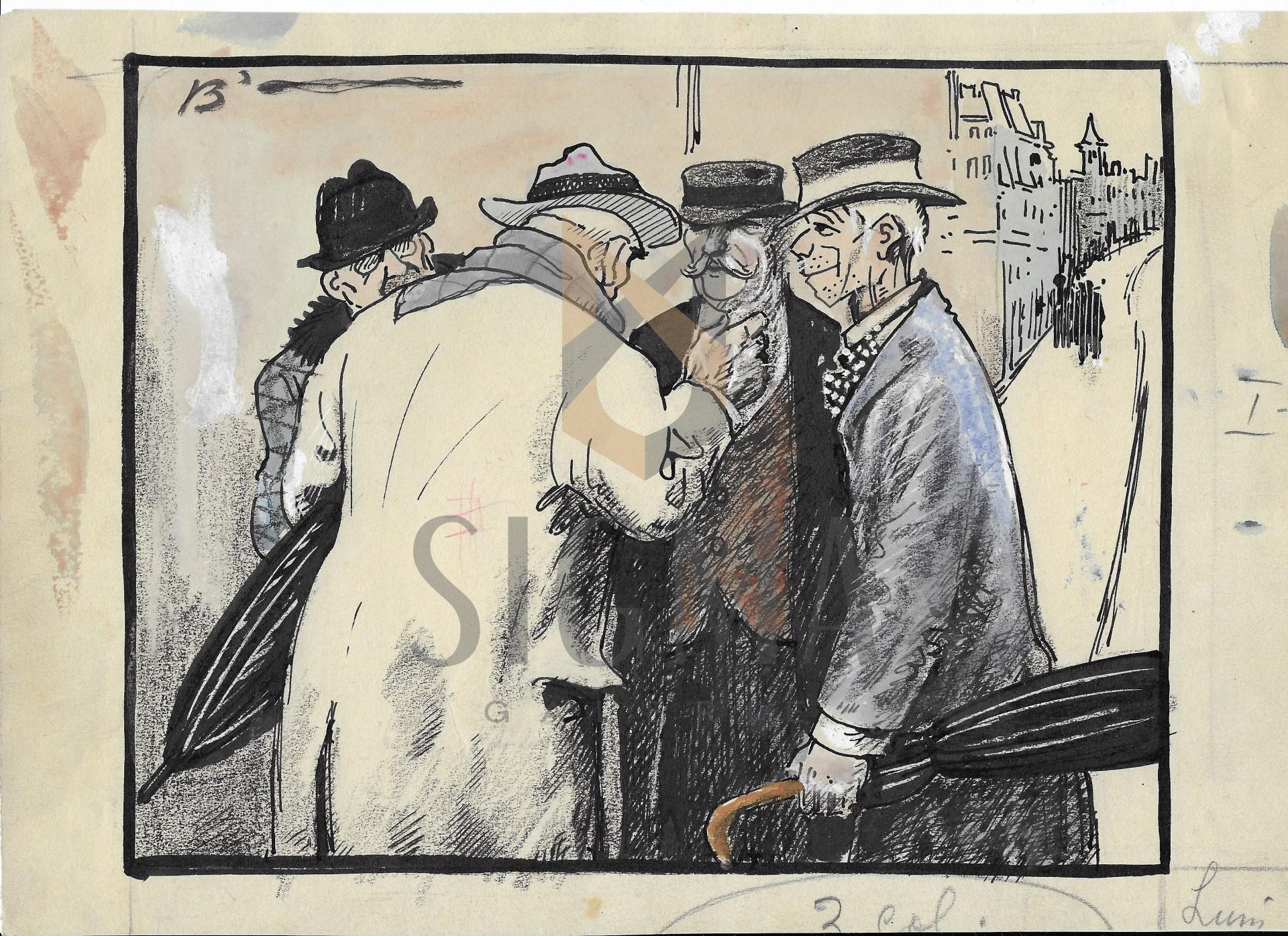 """B'ARG ( Ion Barbulescu ) , """" INCERCARE DE EVADARE"""" grafica pt Ziarul  DIMINEATA , 1933"""