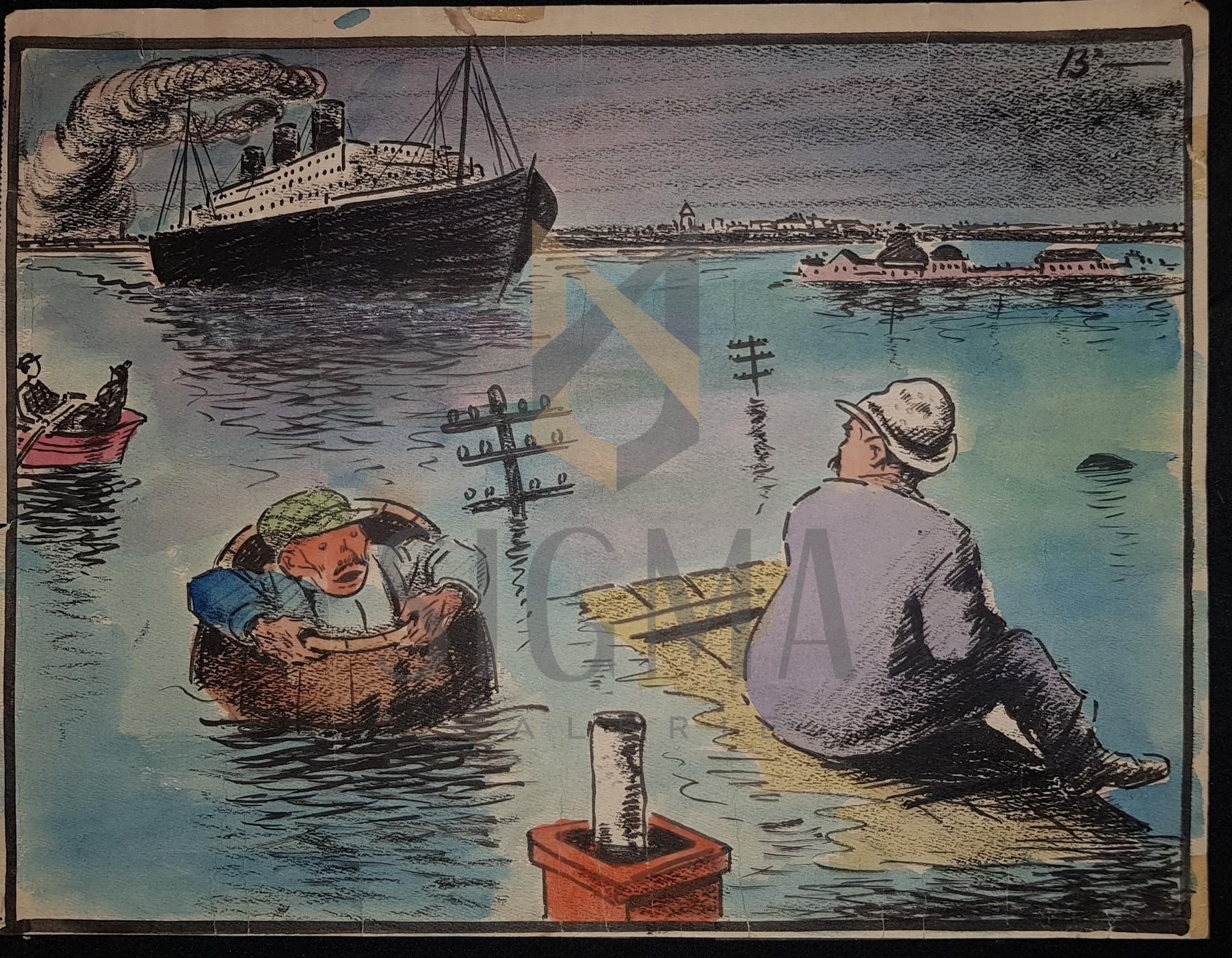 """B'ARG ( Ion Barbulescu ) , """" INUNDATIILE LA FERIFERIE"""" grafica pt Ziarul  DIMINEATA , 1932"""