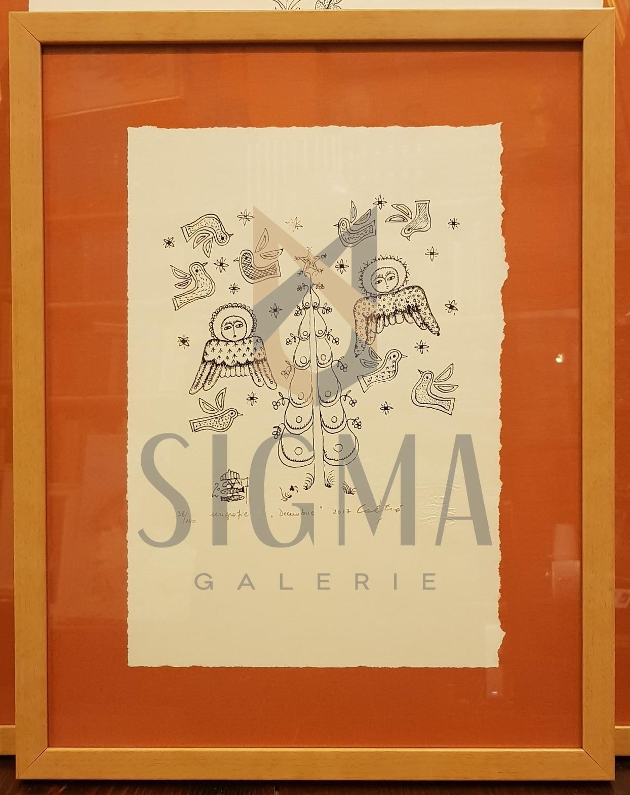 "TABLOU, STEFAN CALTIA "" DECEMBRIE "", serigrafie, 2017"