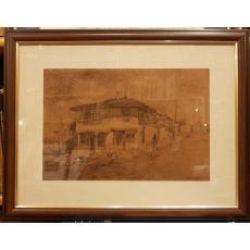 COCA CRETZOIU RADULESCU ( n. 1914 ), PEISAJ DIN BALCIC , creion/ hartie