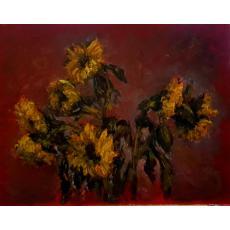 Tablou, - Floarea soarelui -, ulei pe carton, 52x65 cm