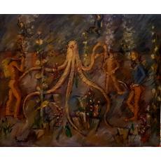 Tablou, - Caracatita -, ulei pe carton, 60x73 cm, semnata indescifrabil