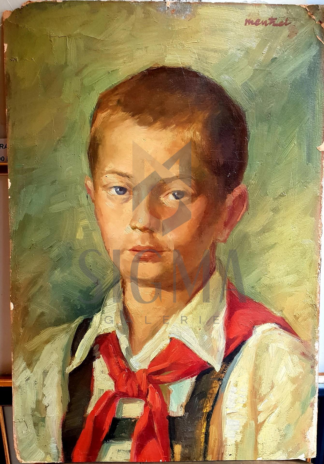 Tablou, Avram Mentzel, - Pionier -, ulei pe carton, 41,5x28,5 cm