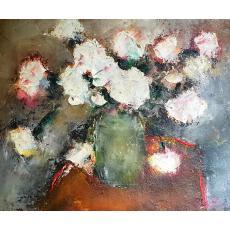 Tablou, - Anemone albe -, ulei pe panza de sac, 32x40 cm, semnat indescifrabil