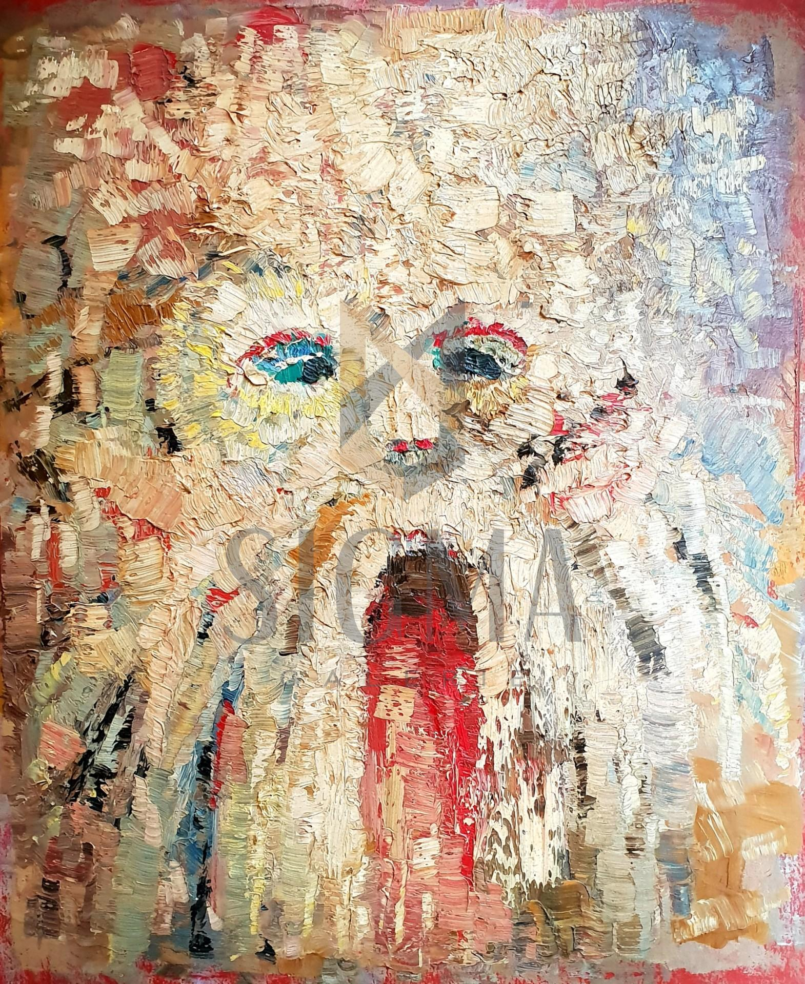 Tablou, - Masca traditionala -, ulei pe carton, 39x32,5 cm, lucrare nesemnata