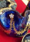 Serviciu Tete-a-Tete, sticla Moser Cehia, pictate cu foiță de aur