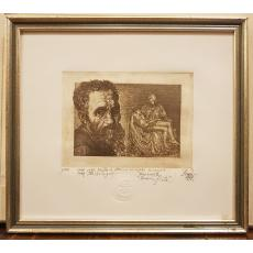 "TABLOU, PENDA OCTAVIAN ION ( 1956-2011) , "" MICHELANGELO BOUNAROTI TERMINA - PIETA "", EX. 1/20, gravura, 1998"