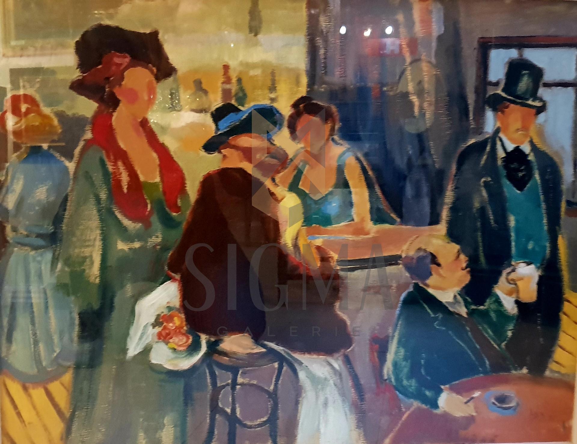 Tablou, LDB - Lucia Dem(etriade) Balacescu, ~Scena in cafenea~, ulei pe carton, 50x65 cm, semnat si datat dreapta jos ~LDB 51~