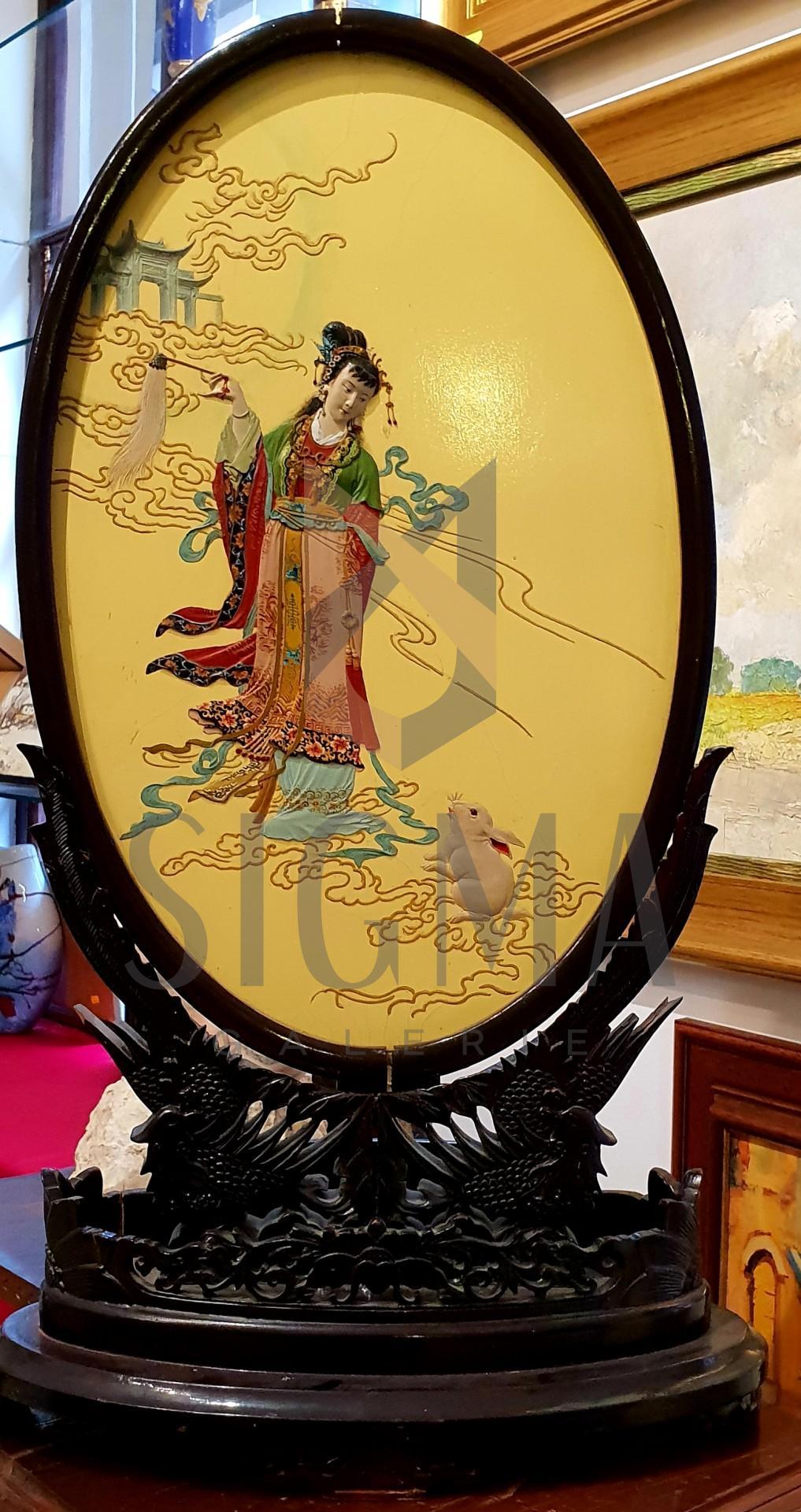 Piesă decorativă din lemn pictată manual. Zeița a Chinei.
