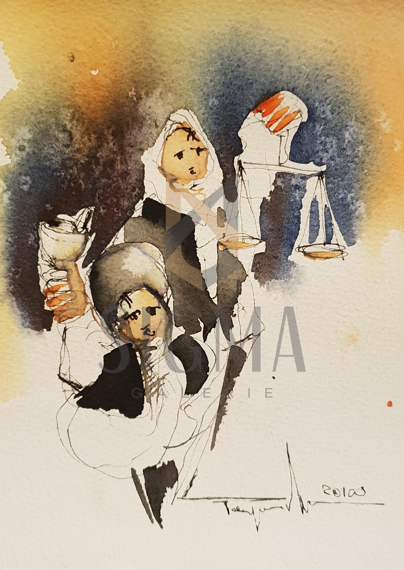 Tablou sau felicitare! Autor: Mugur Popa, -Traditii Romanesti-  acuarela si tus pe hartie canson,  Dim: 20x14 cm Lucrarile nu sunt inramate.