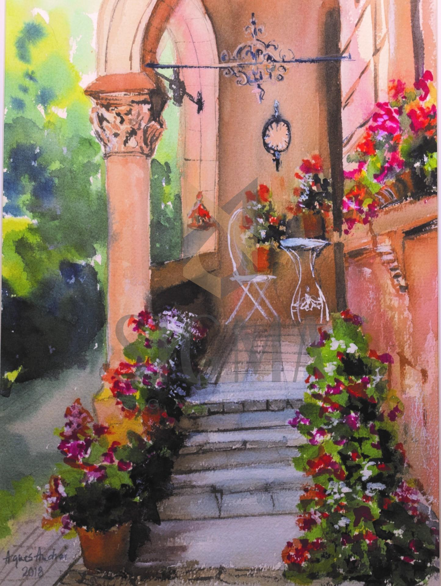 Tablou, Agnes Andrei, - Casa cu flori Strada Sperantei - acuarela, dim: 26x36 cm,