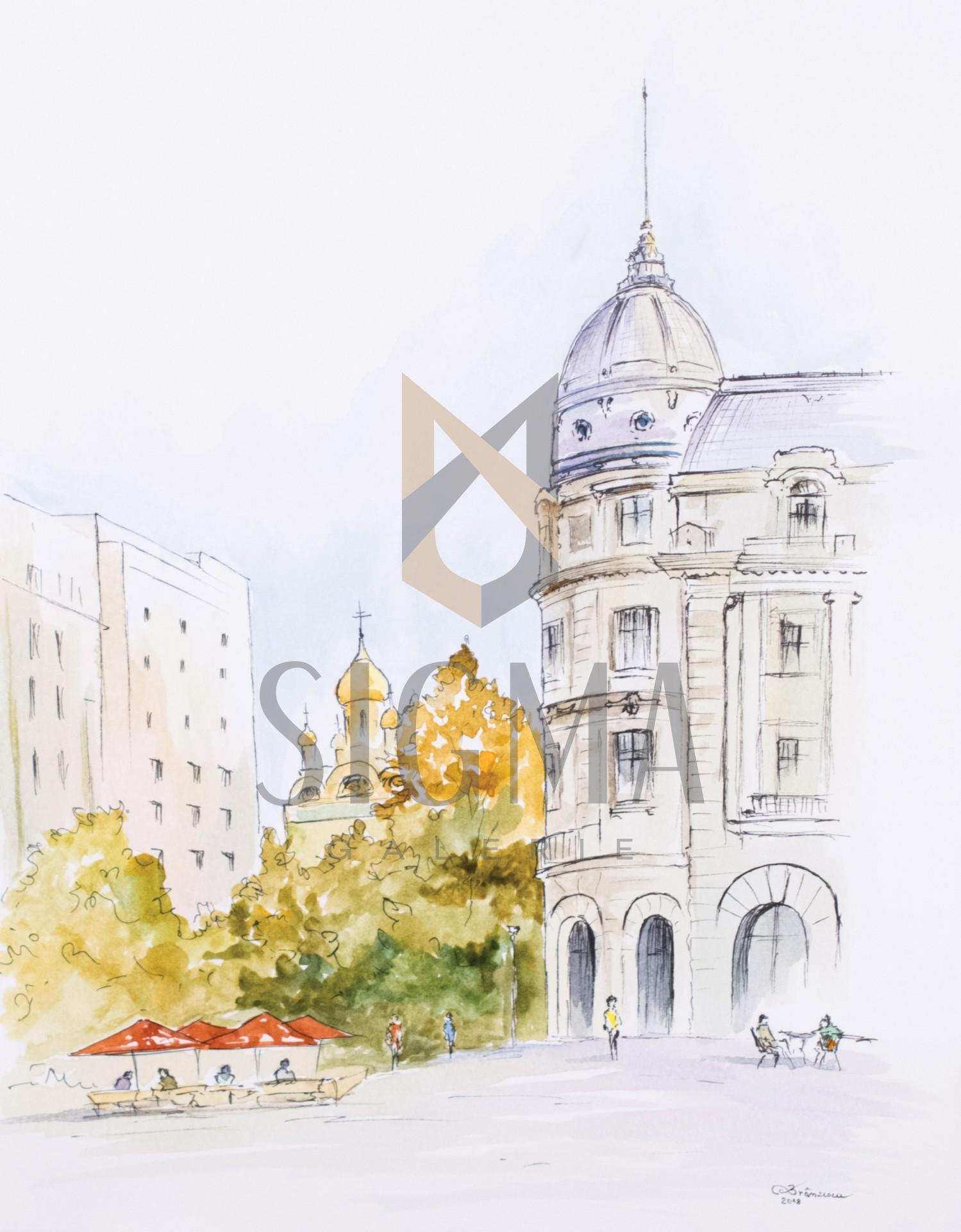 Tablou, Cristian Branzescu, - Piata Universitatii - acuarela si tus, 30x21 cm