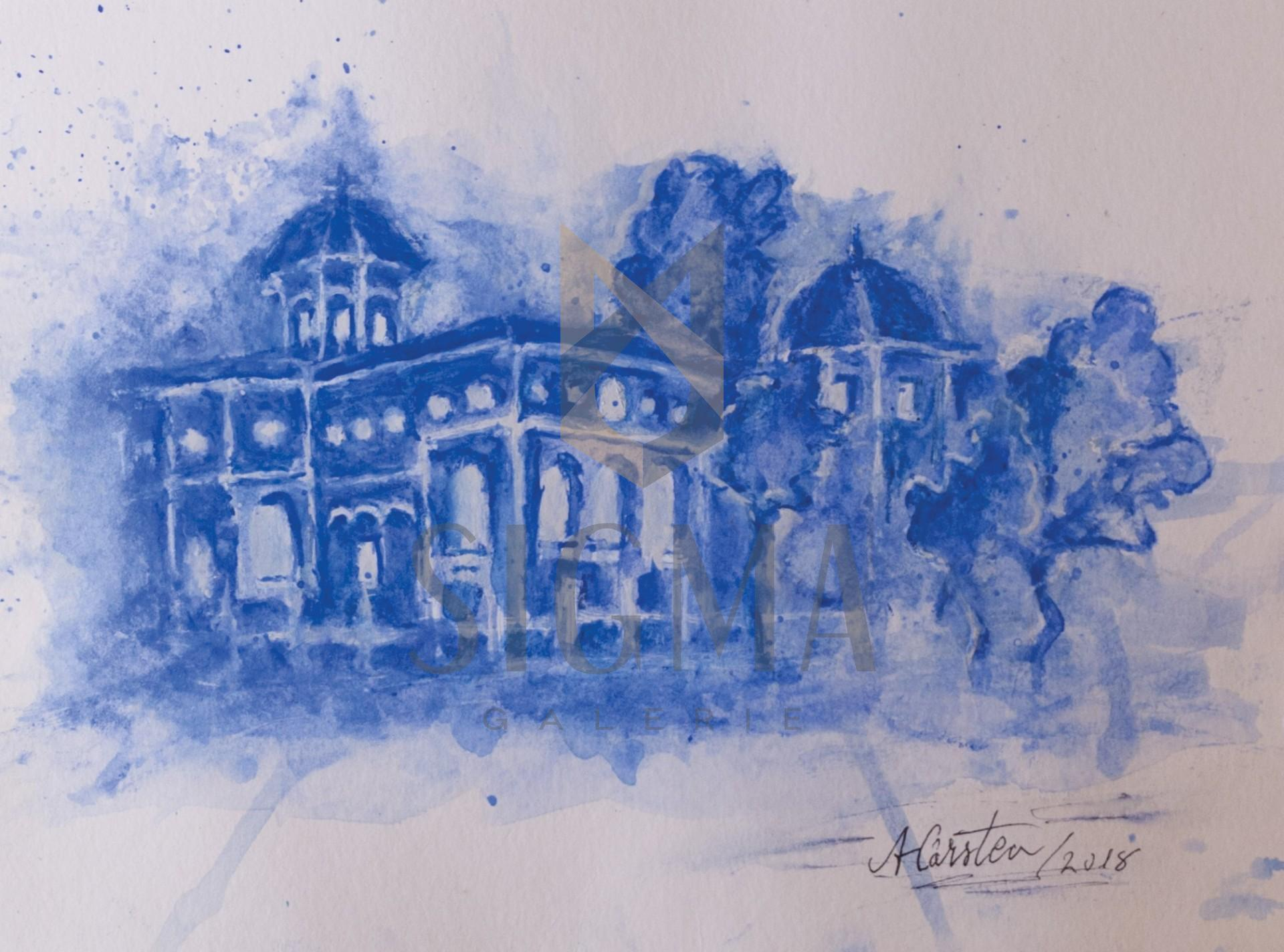 Tablou, Anca C. Cristea, - Albastrui - acuarela, 21x30 cm
