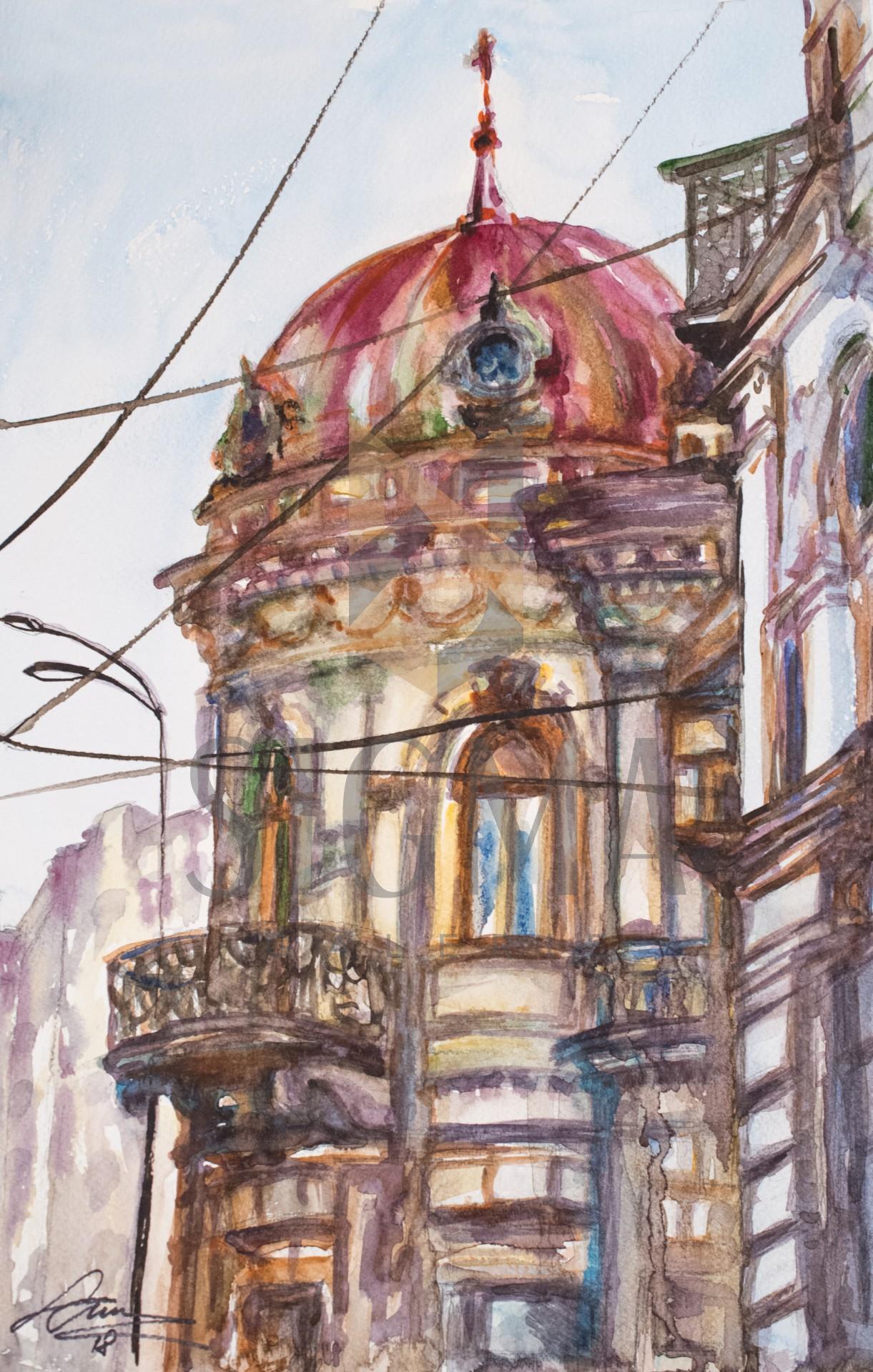 Tablou, Aurelia Luca Colombo, - Cladire veche, zona punctul 0 Bucuresti - acuarela, dim: 30x21 cm