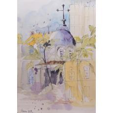 Tablou, Sabina Luminita Cozma, - Biserica Bucur, str Radu Voda 33 - acuarela si tus, 21x30 cm