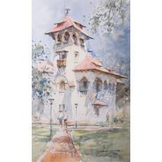 Tablou, Mazumder Dhruba, - Muzeul Nicolae Minovici, Bucuresti, acuarela, 46,5x30 cm