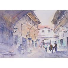 Tablou, Mazumder Dhruba, - Hanul cu tei - acuarela, 25 cm x 35 cm