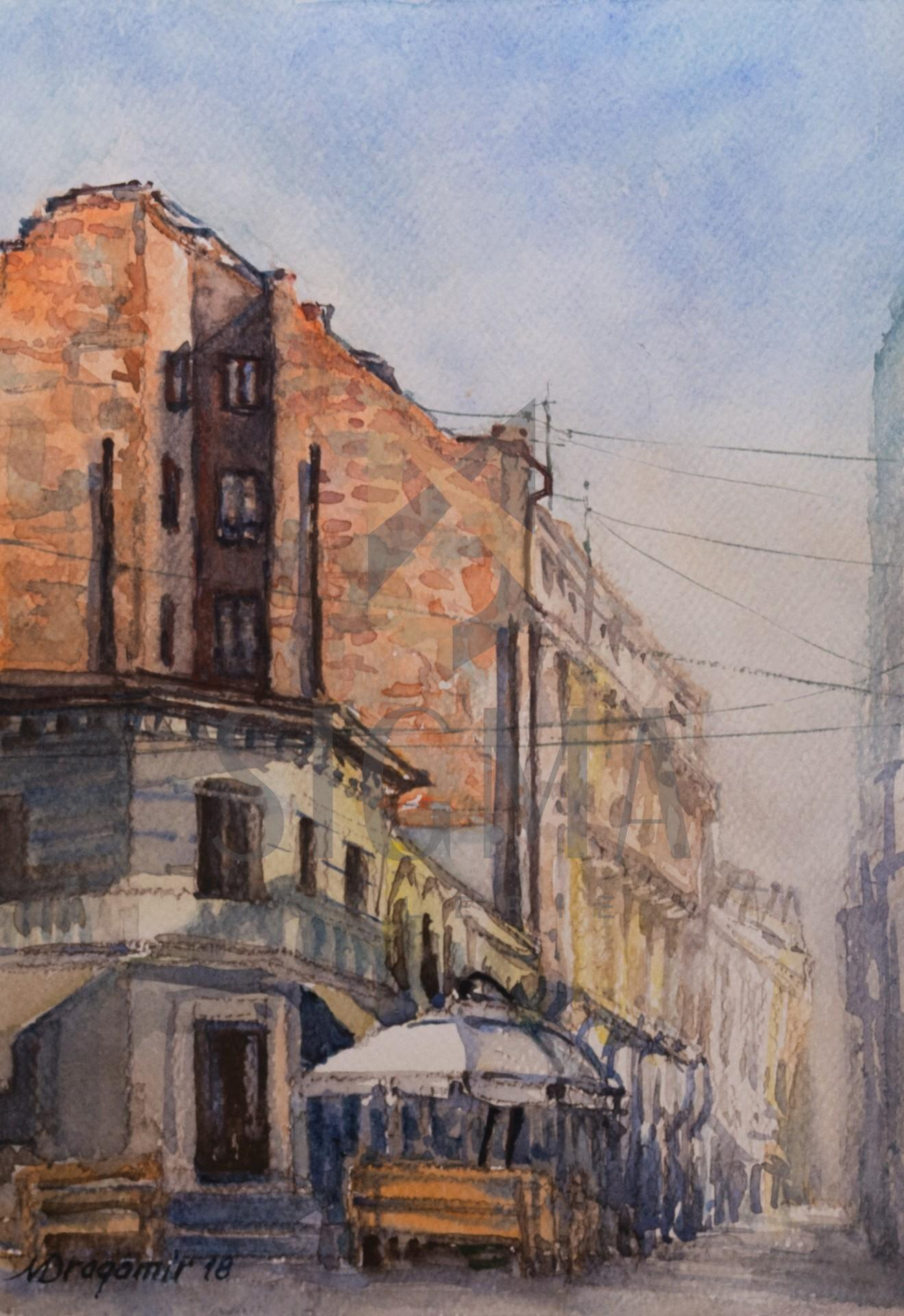 Tablou, Mihaela Dragomir, - Strada Franceza - acuarela, 28x19,5 cm