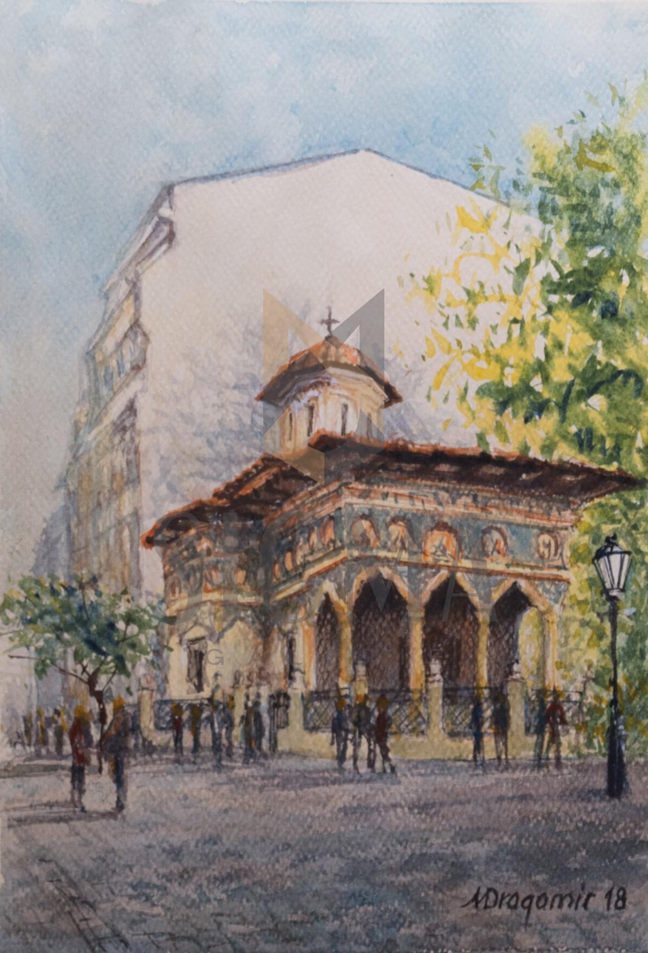 Tablou, Mihaela Dragomir, - Biserica Stavropoleos - acuarela, 28x19,5 cm