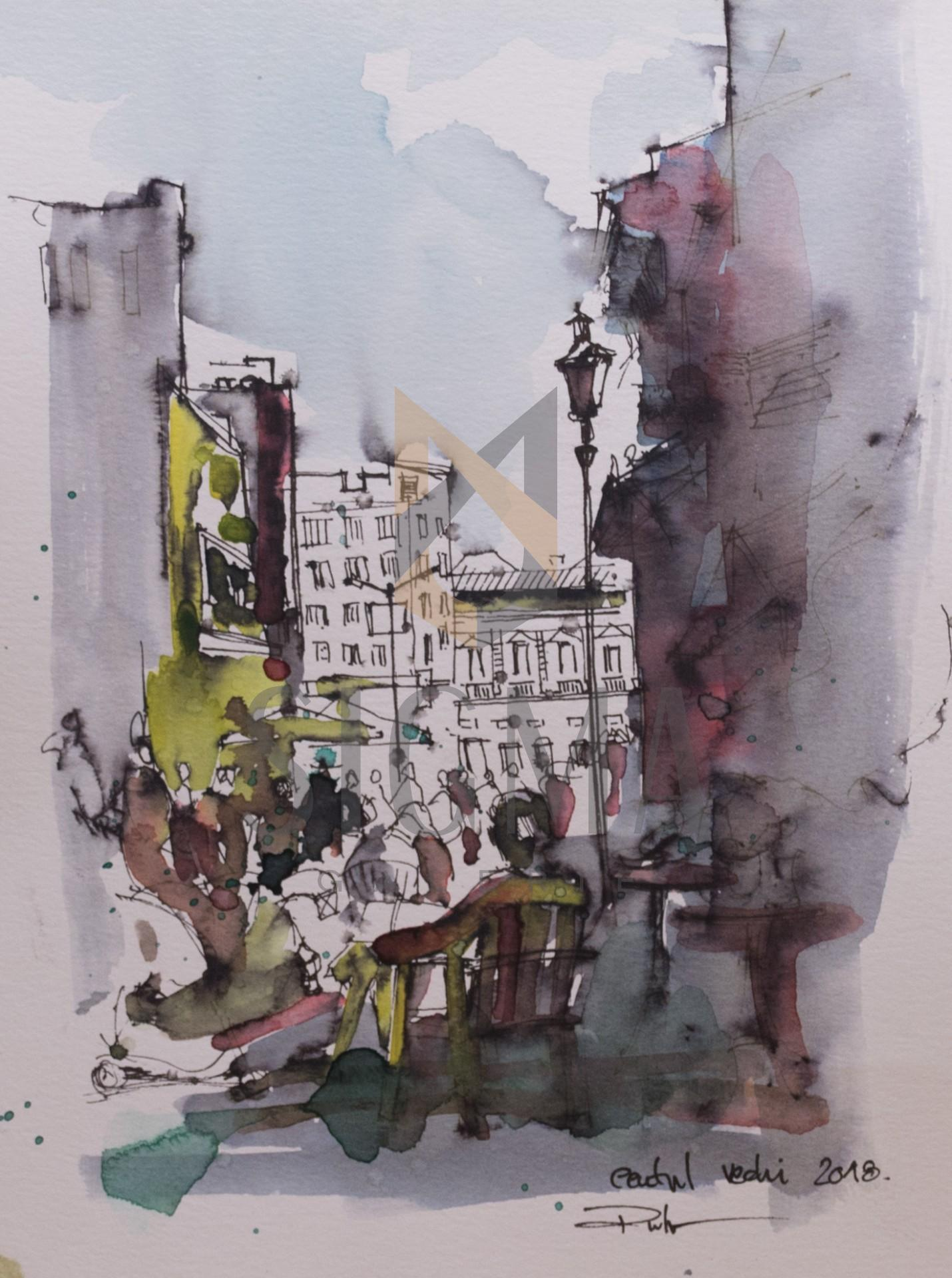 Tablou, Radu Florea, - Pe Lipscani, acuarela si tus, 30x21 cm