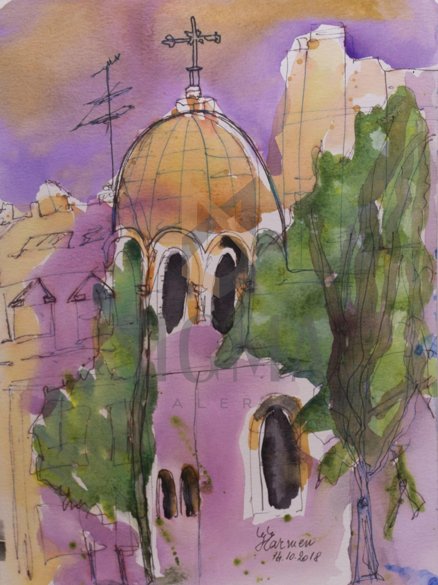 Tablou, Carmen Gheorghe, - Biserica Sf. Nicolae Selari - acuarela si tus, 30x21 cm