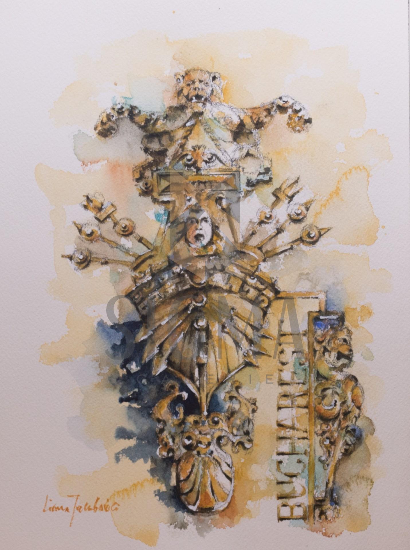 Tablou, Liliana Iacubovici, - Fatada Muzeului National de Istorie a Romaniei - acuarela si tus, 30x42 cm