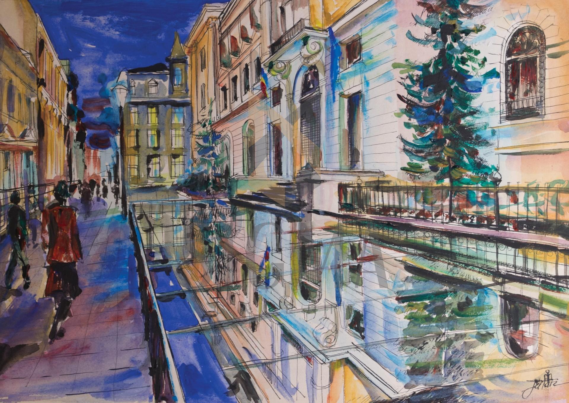 Tablou, Mihaela Iatan, - Lipscani in noapte - acuarela si tus, 30x42 cm