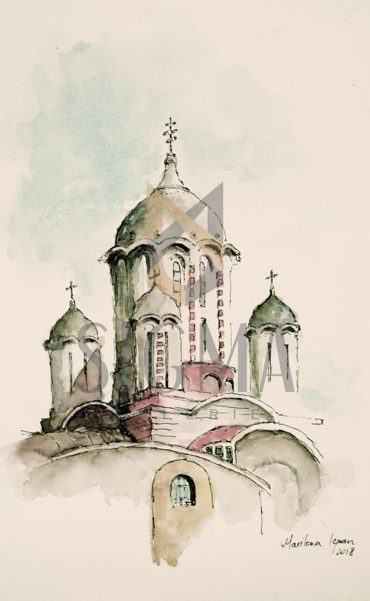 Tablou, Marilena Iepan, - Biserica Sf. Elefterie cel nou - acuarela si tus, 28x38 cm