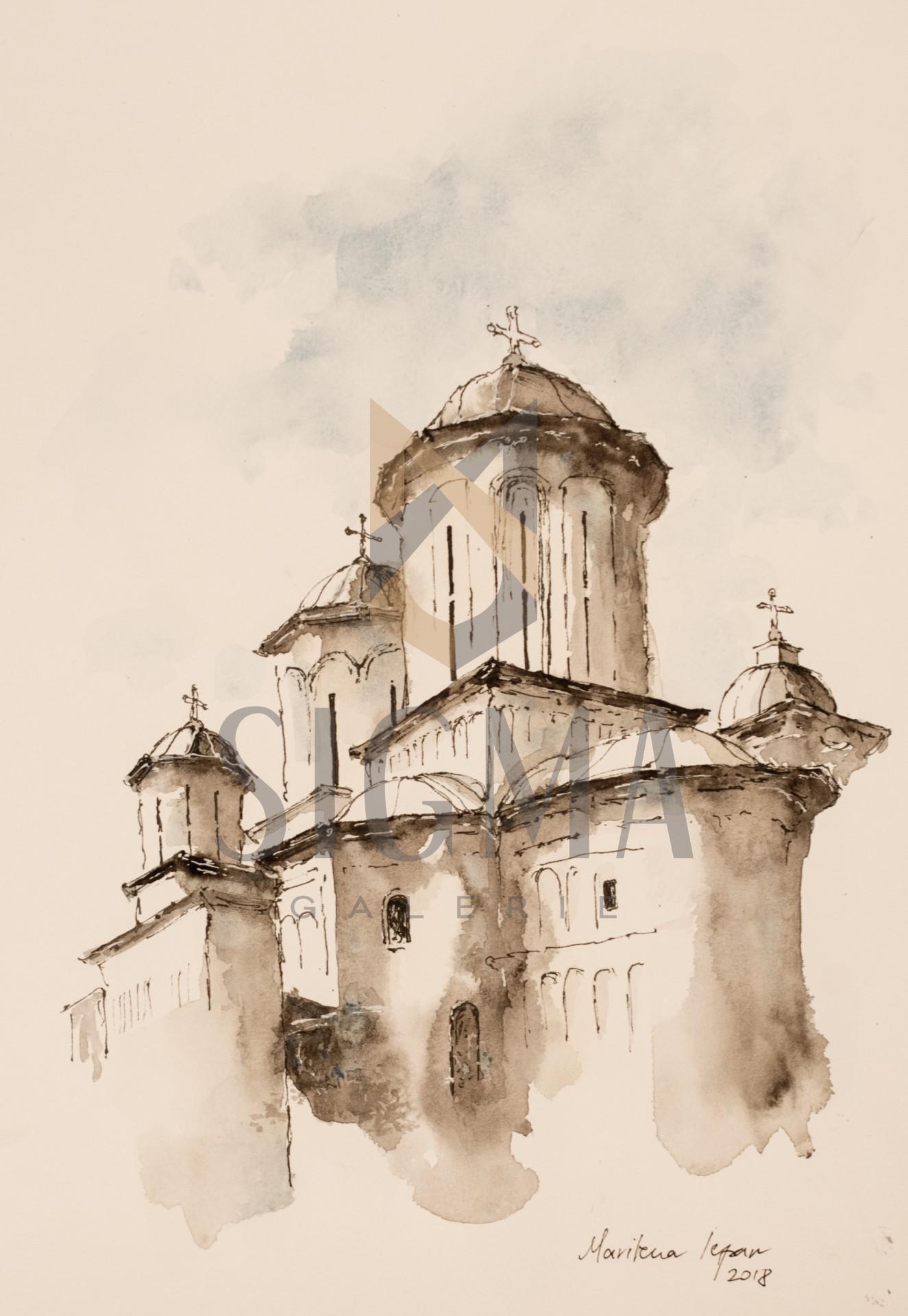 Tablou, Marilena Iepan, - Manastirea Radu Voda - acuarela si tus, 28x38 cm