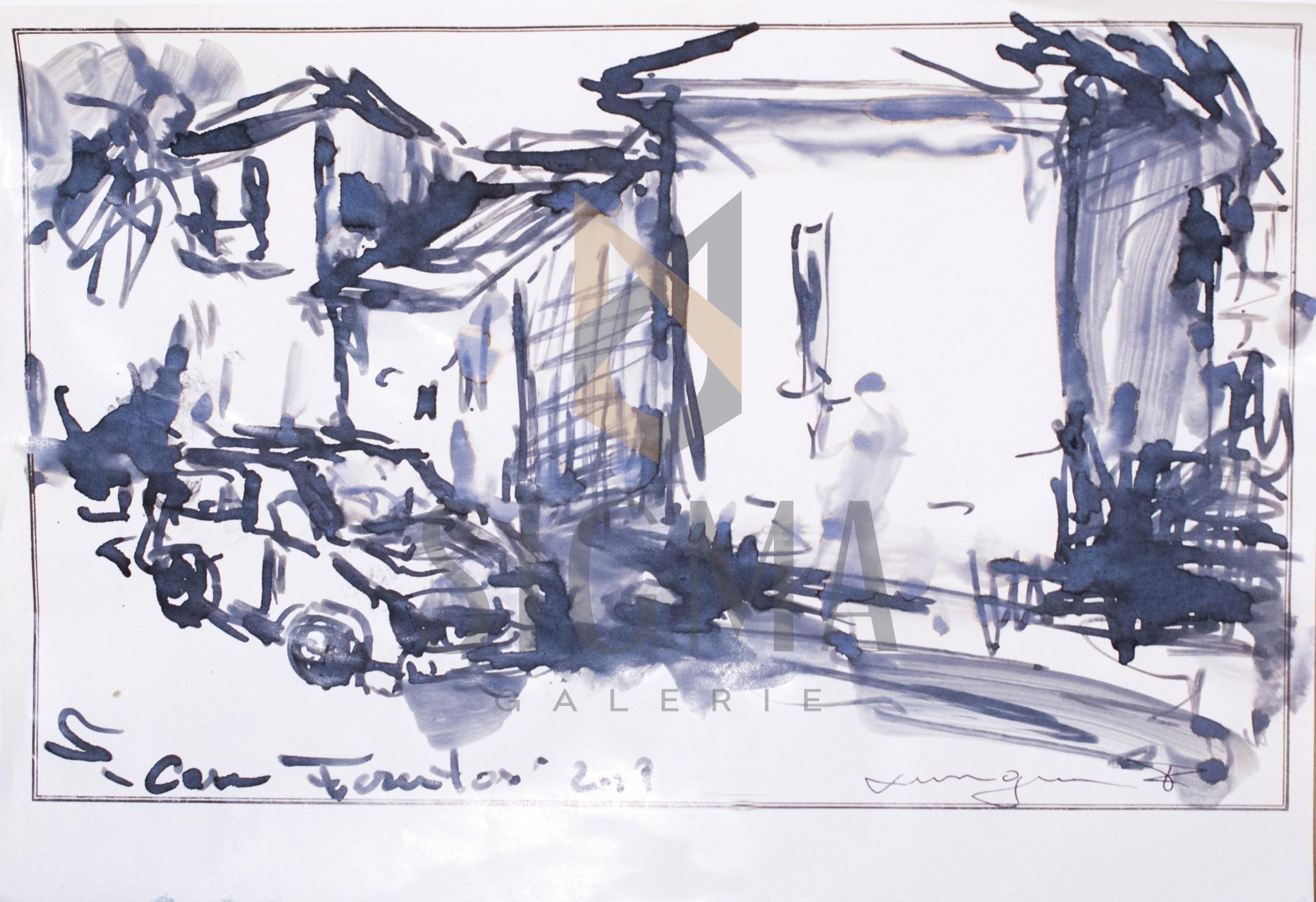 Tablou, Florin Lungu, - Strada in Ferentari - tus, 30x21 cm
