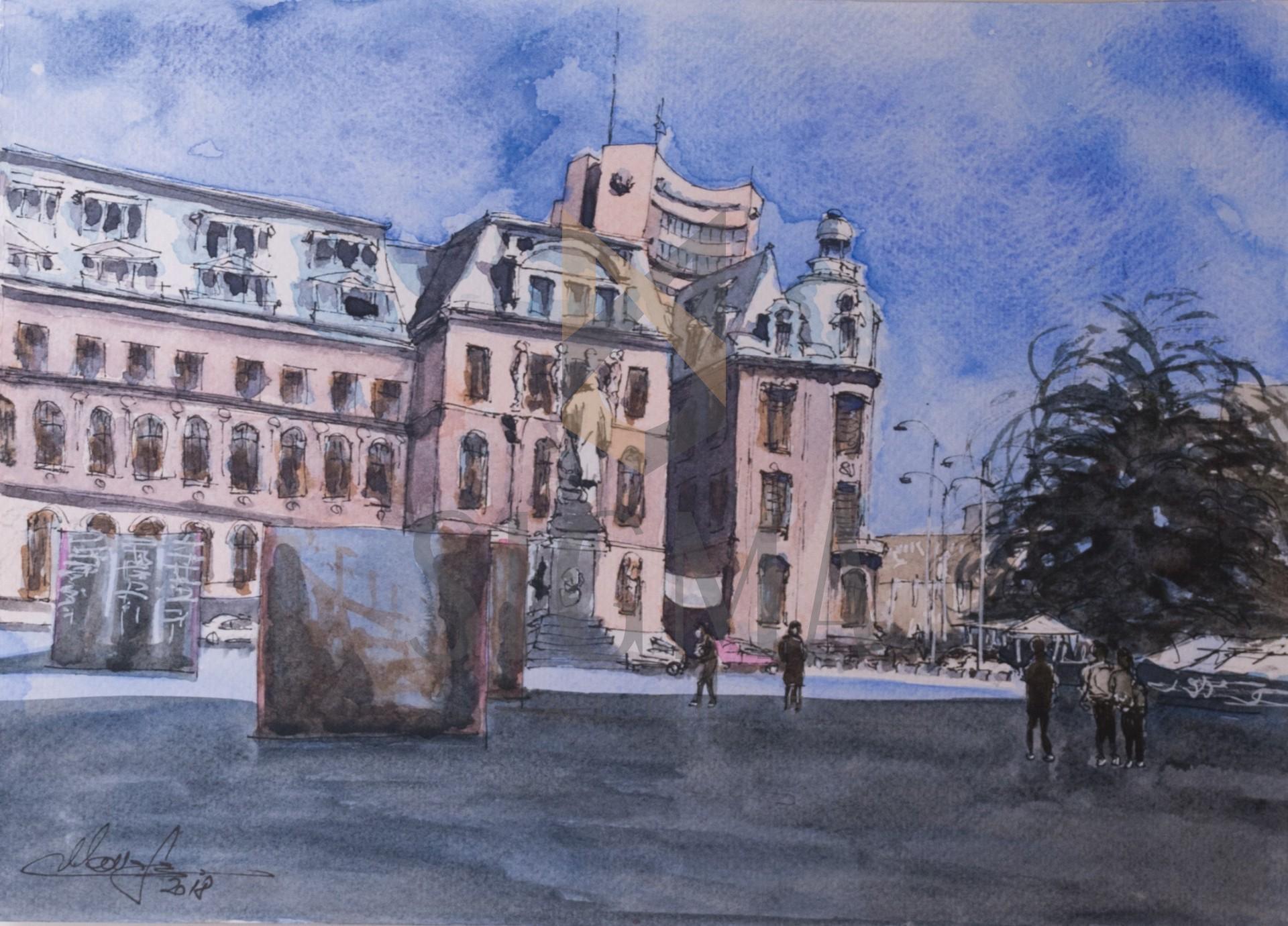 Tablou, Daniel Manafu, - Ecletic Bucharest - acuarela, 21x30cm