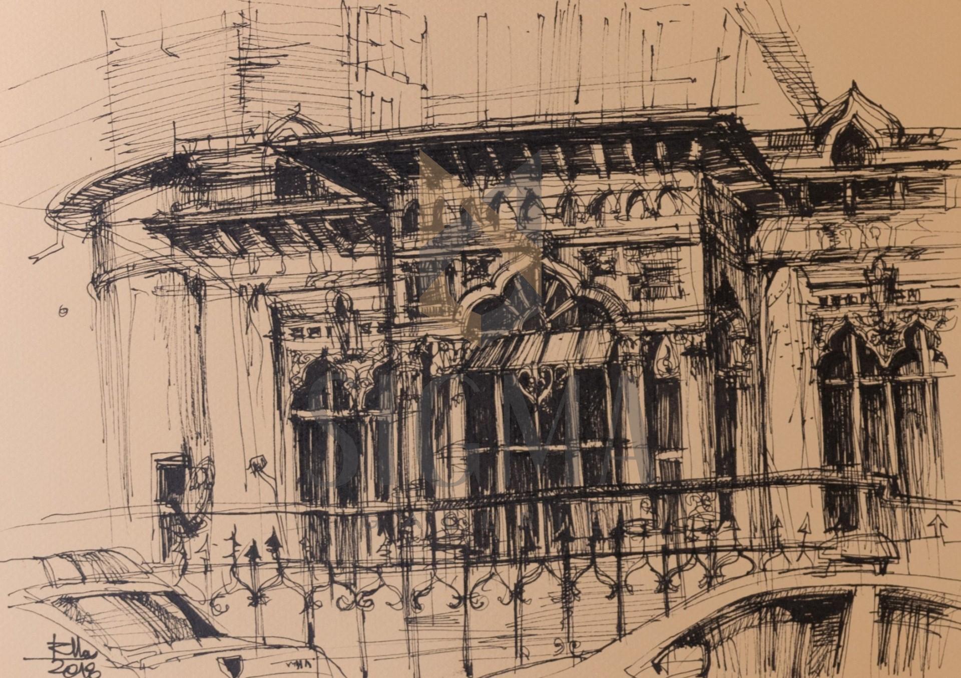 Tablou, Raluca Morariu, Casa Ionescu Ghion, tus, 30 x 21 cm