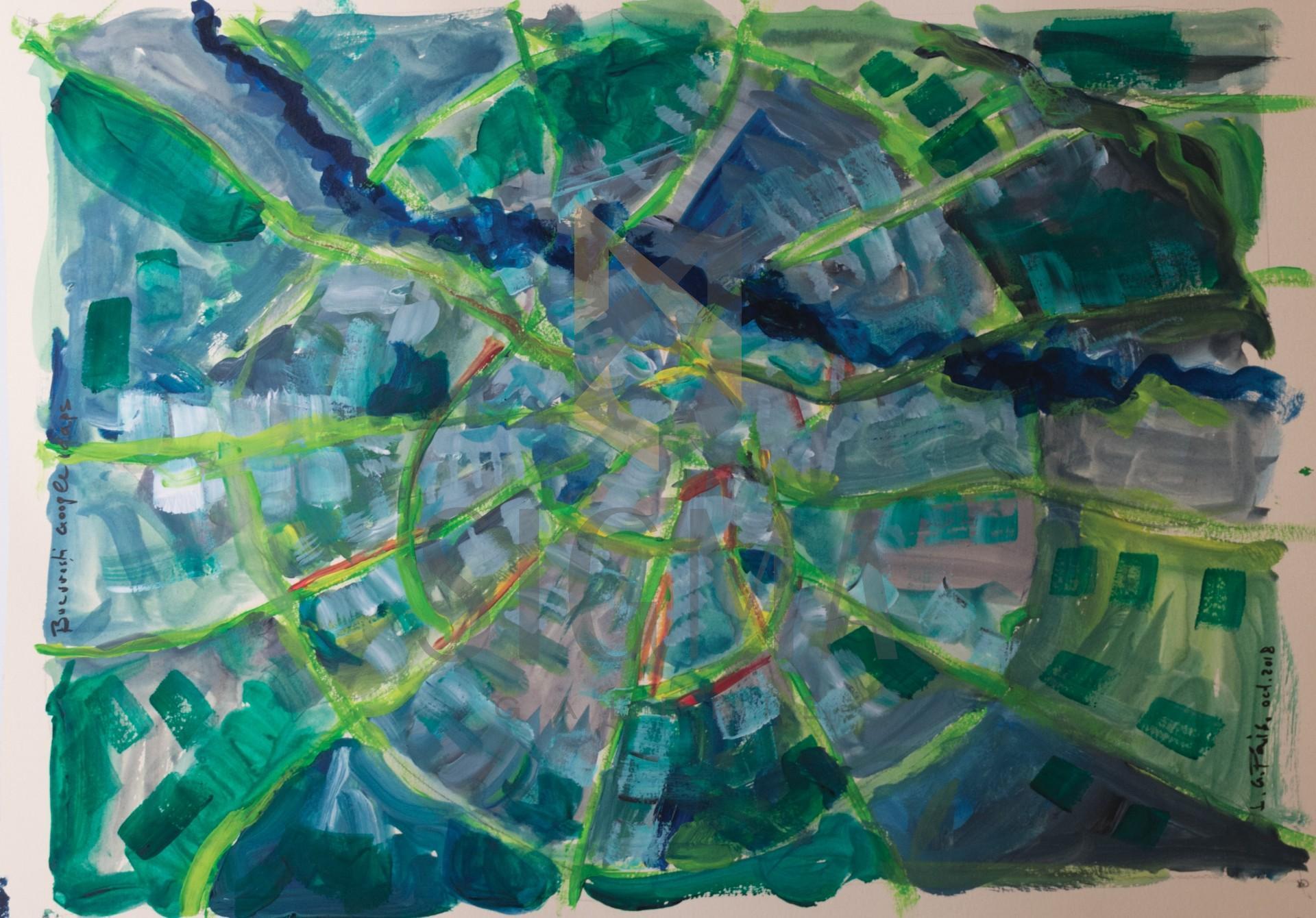 Tablou, Lucian George Pais, Bucuresti - Google Maps - acuarela, 42 x 30 cm