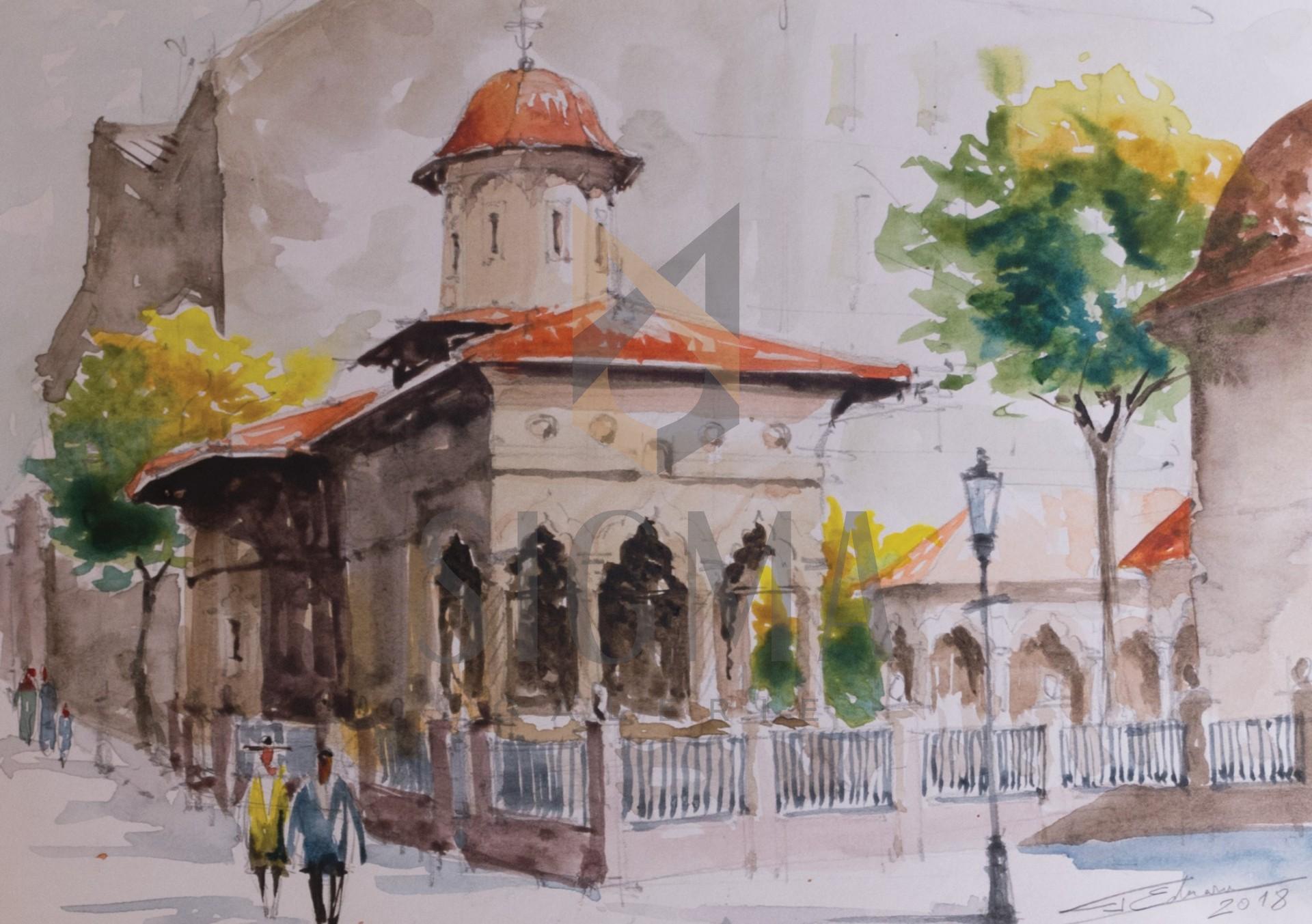 Tablou, Eduard G. Pascu, Biserica Stavropoleus, acuarela 30x21 cm