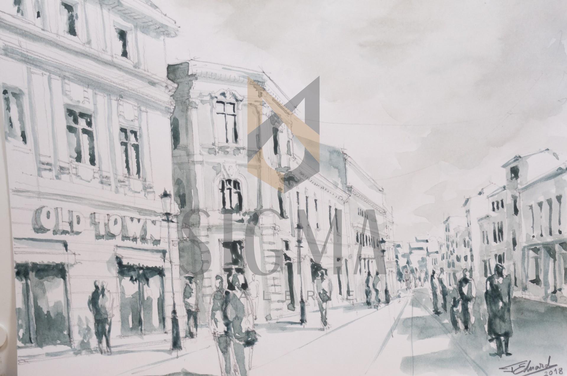 Tablou, Eduard G. Pascu, Centrul vechi, str. Lipscani, acuarela 42x30 cm