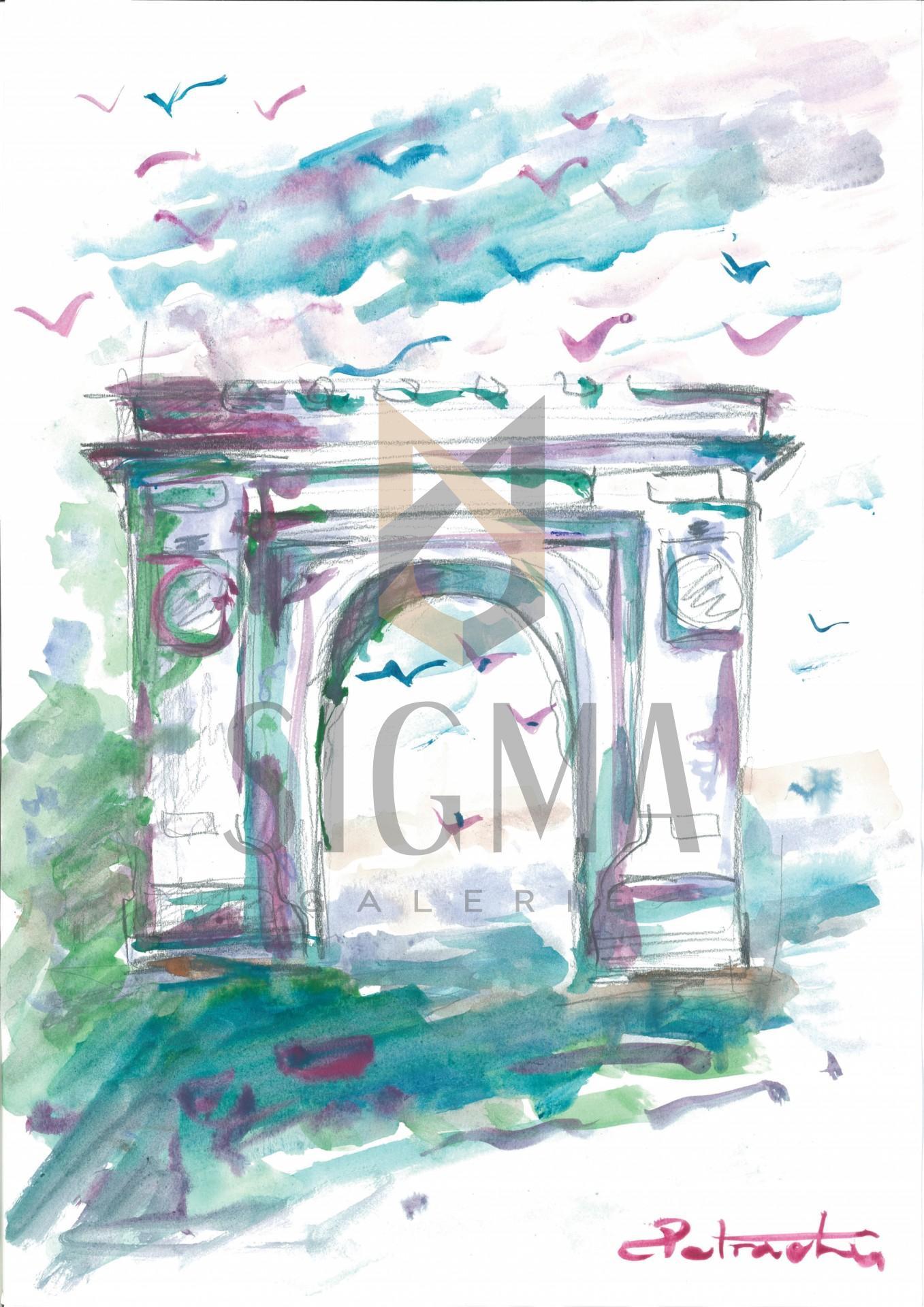 Tablou, Florin Petrachi, - Tacerea Arcului de Triumf -, acuarela, 40x30 cm