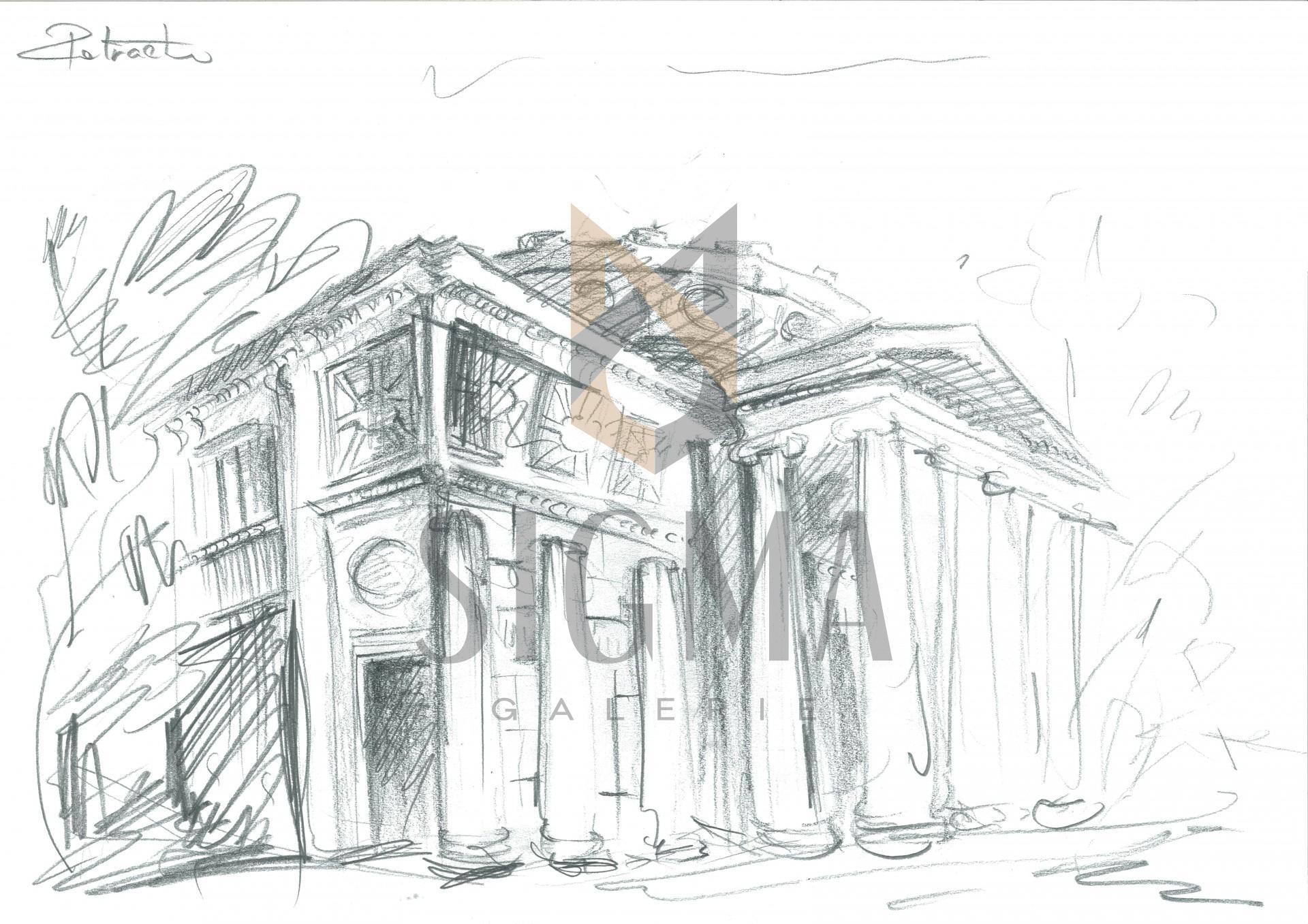 Tablou, Florin Petrachi, - Amintire din Ateneu -, creion, 30x40 cm