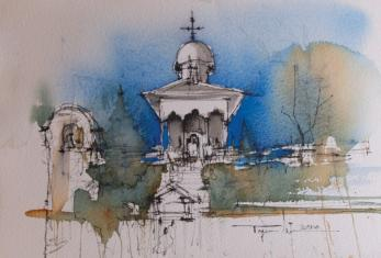 Tablou, Mugur Popa, - Biserica Bucur Ciobanul -  acuarela si cerneala, 19x29 cm,