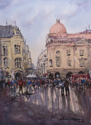 Tablou, Claudiu Popescu, - Concert stradal pe Lipscani - acuarela, 36 x 26 cm