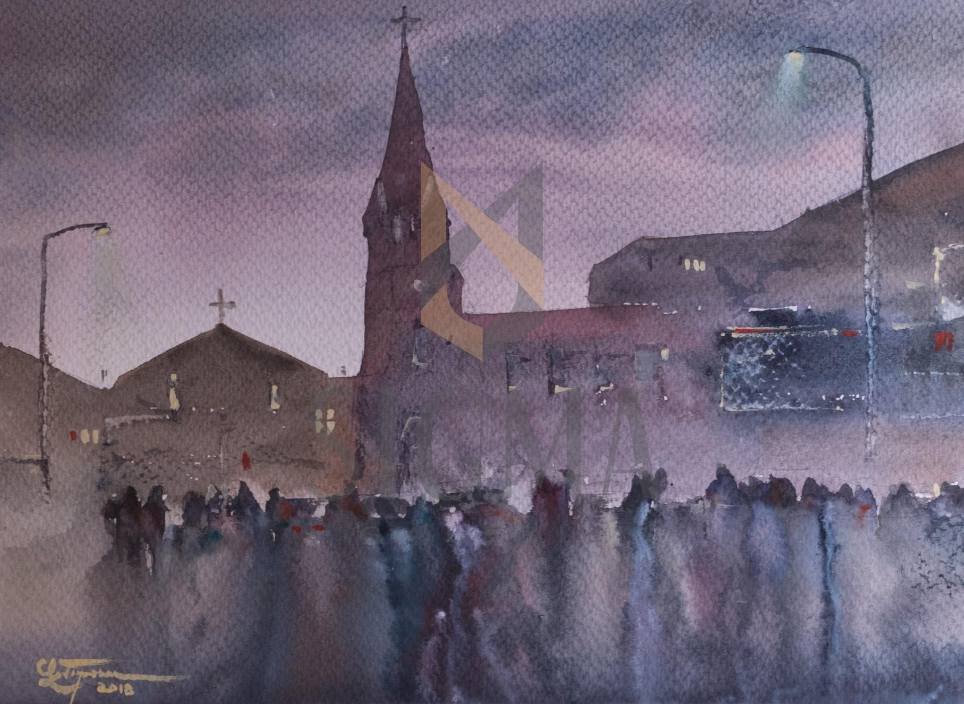 Tablou, Claudiu Popescu, - Studiu de atmosfera nocturna, Bucuresti, Biserica Baratia - acuarela, 27x37 cm