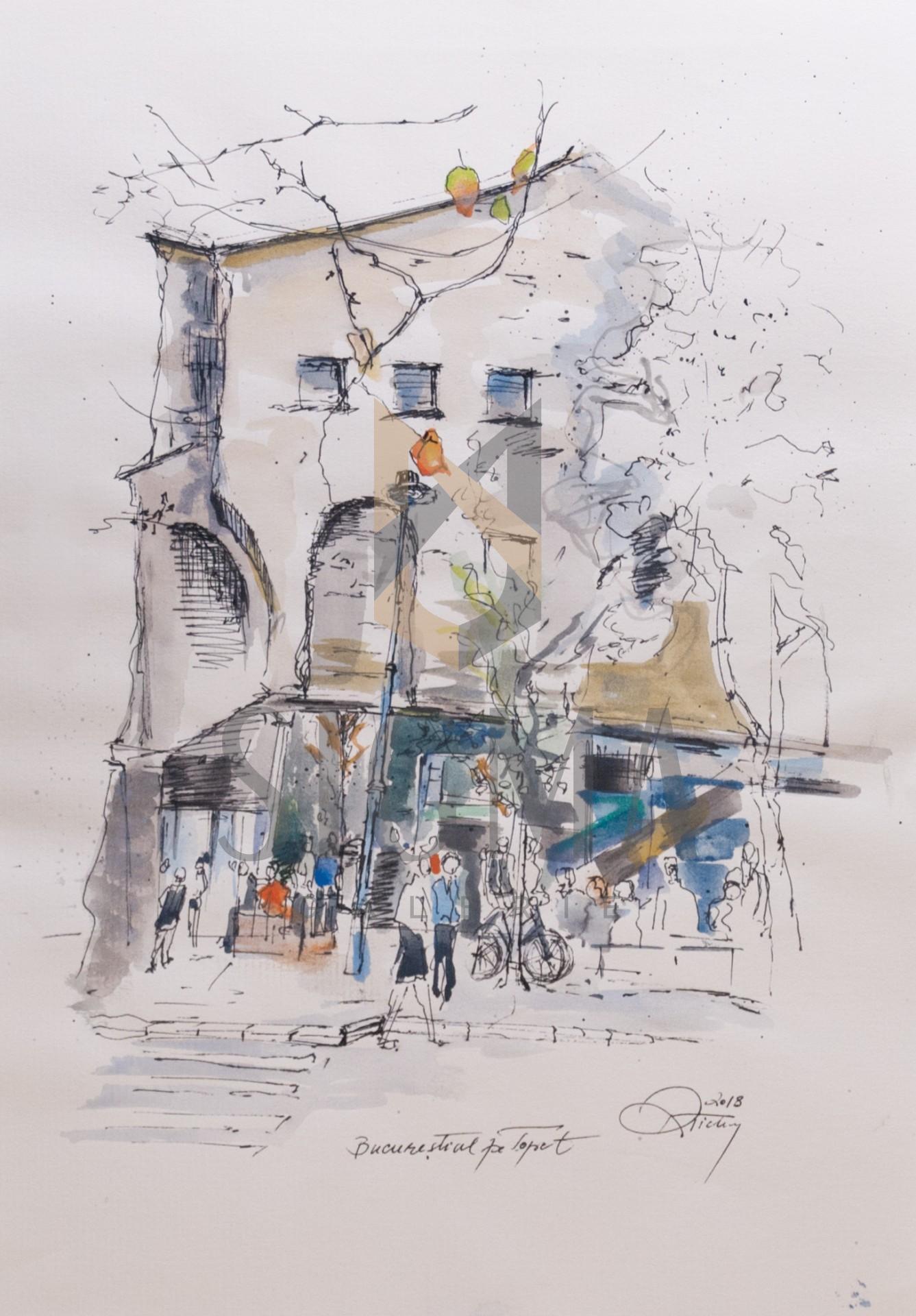 Tablou, Rodica Tichindelean, - Bulevardul Primaverii - acuarela si tus, 30x21 cm