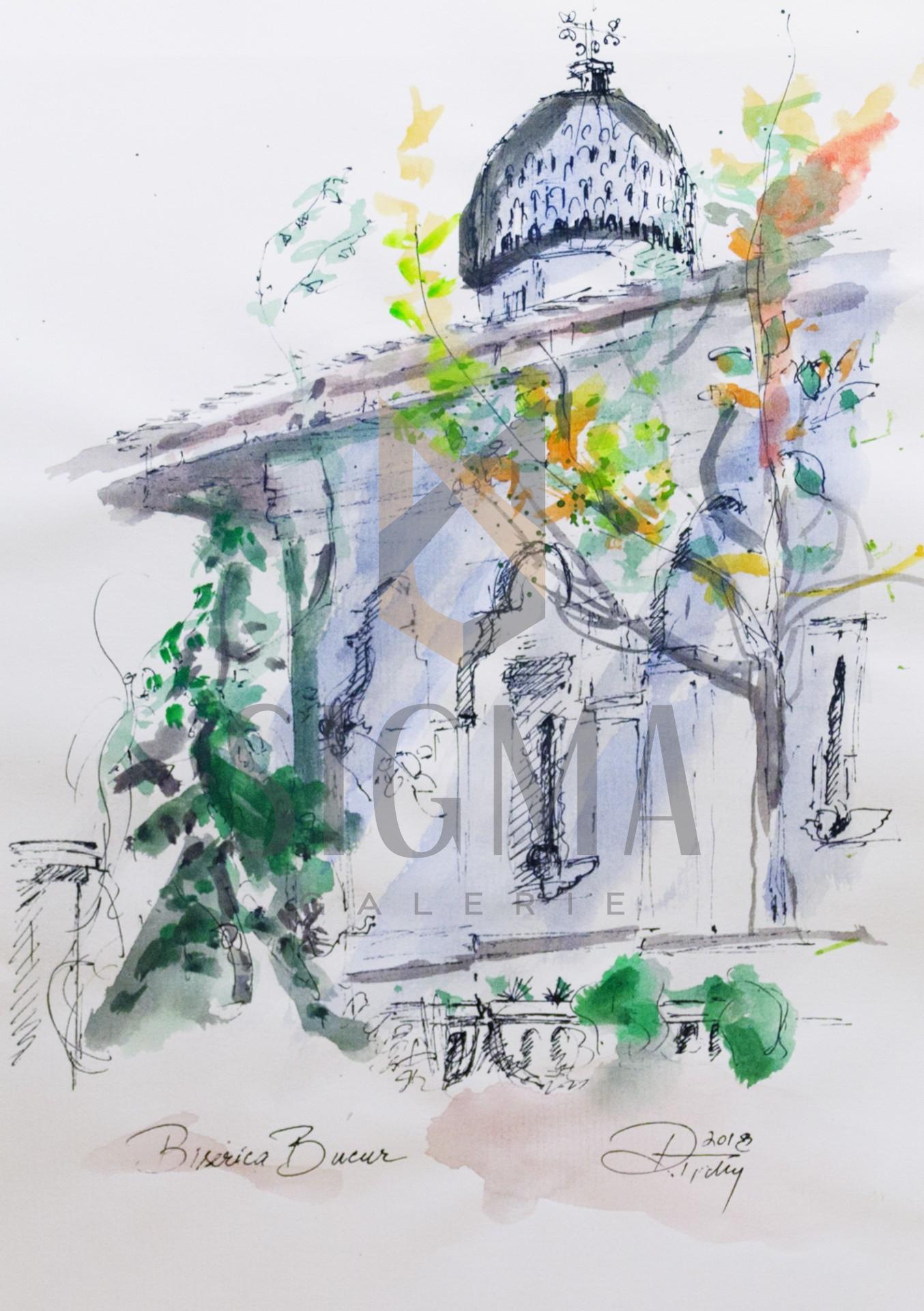 Tablou, Rodica Tichindelean - Biserica Bucur - acuarela si tus, 30x21 cm