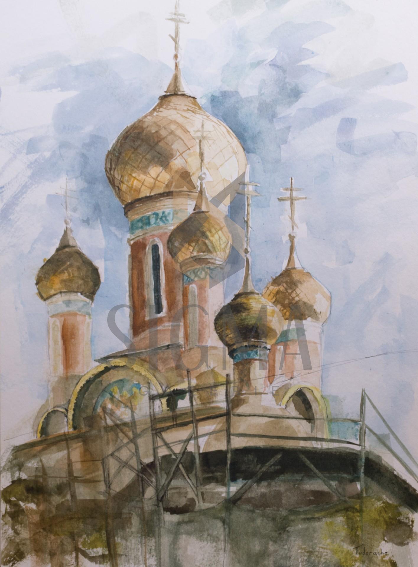Tablou, George Daniel Tudorache, - Biserica Rusa - acuarela si tus, 42x30 cm