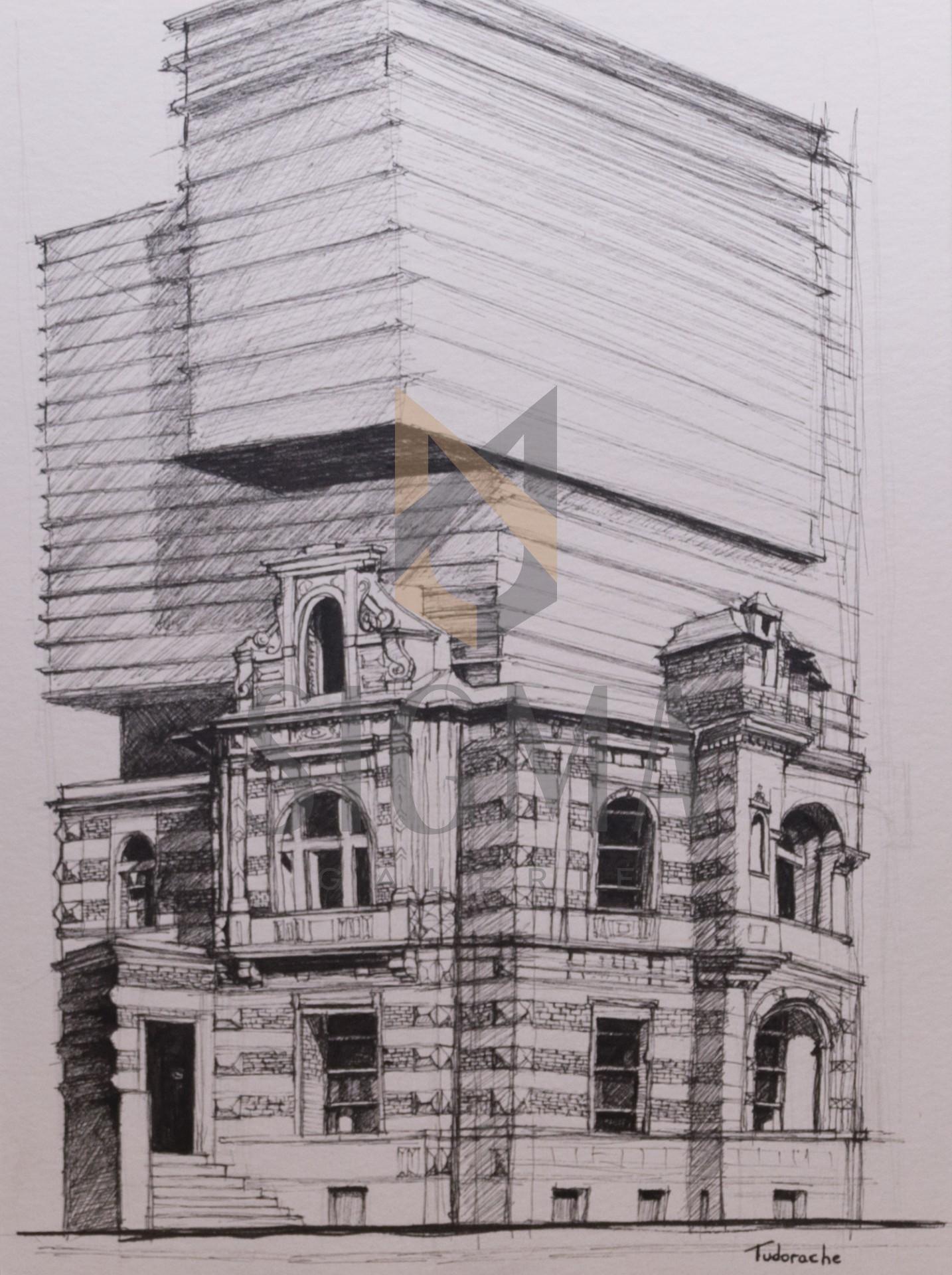 Tablou, George Daniel Tudorache - Uniunea Arhitectilor -  tus, 30x21 cm