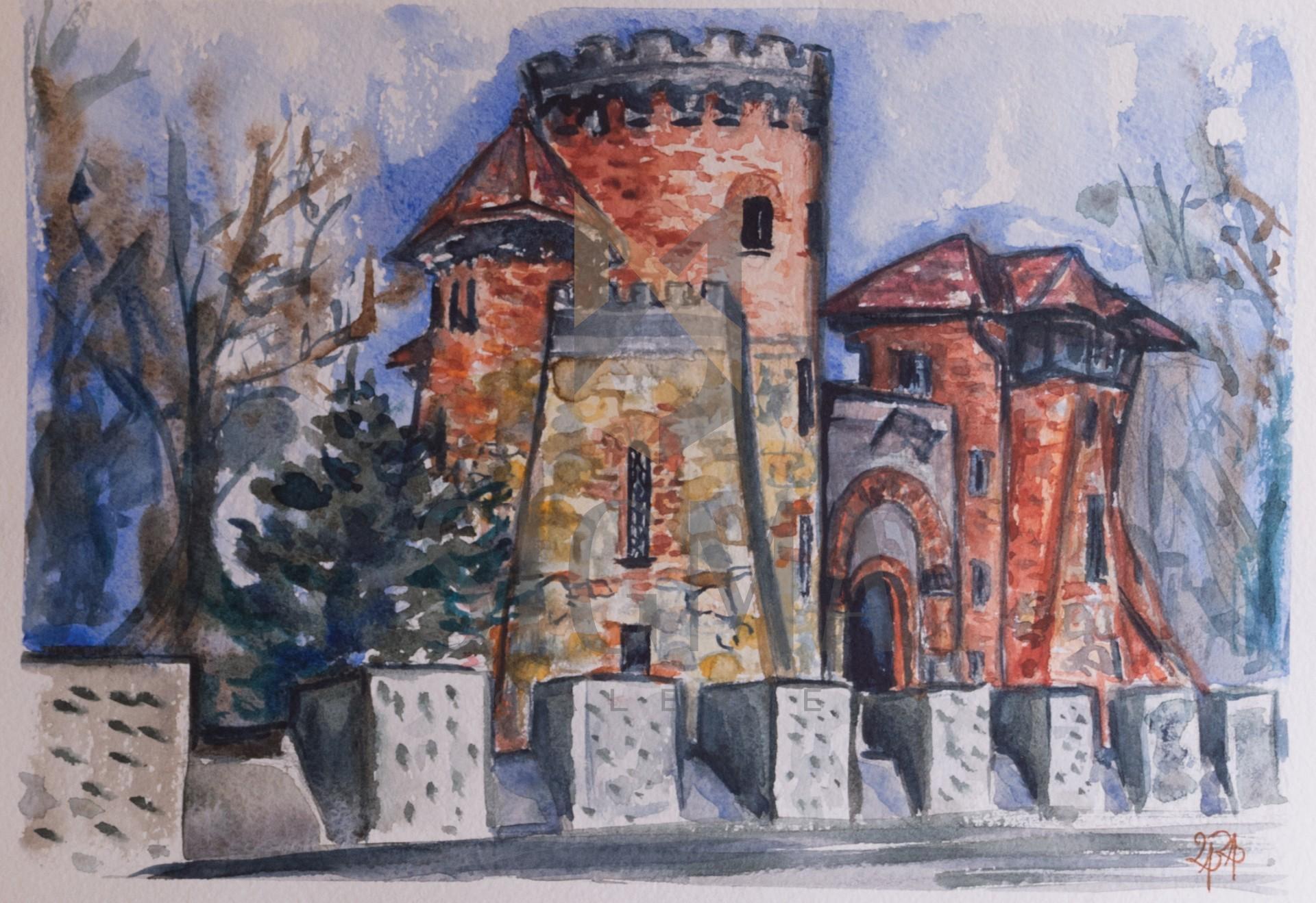 Tablou, Laura Tudorica, Castelul Tepes - Parcul Carol, acuarela si tus, 21x30 cm