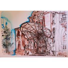 Tablou, Laura Tudorica, Casa George Enescu, acuarela si tus, 21x30 cm