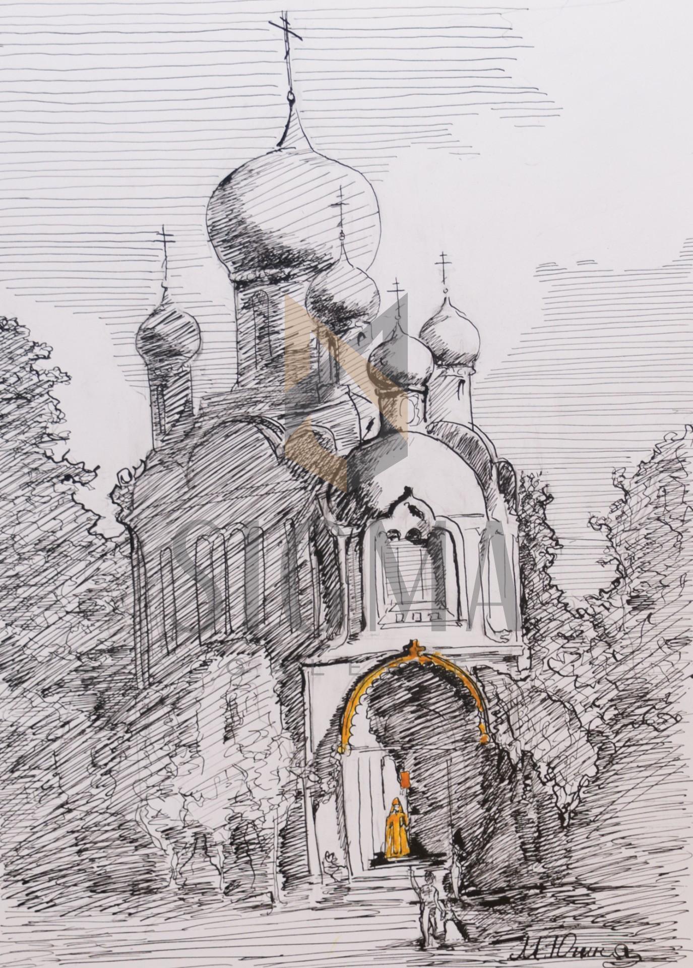 Tablou, Mariia Yughina, Biserica Rusa, tus, 30x21 cm