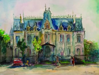 Tablou, Mariia Yughina, Palatul Kretulescu, acuarela si tus, 30x40 cm