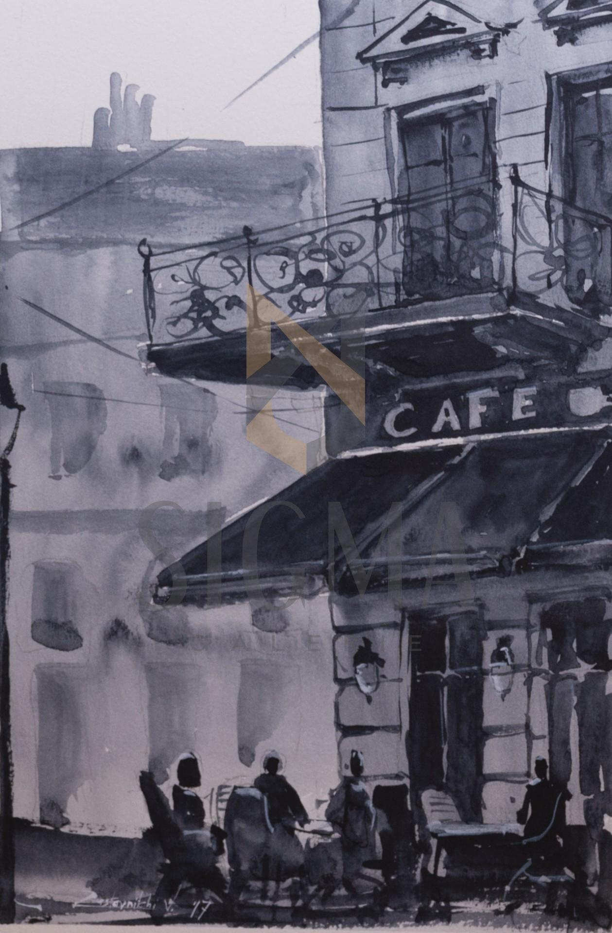 Tablou, Vasile Zastavnitchi, - Caffe - tus, laviu,  29,5x20,5 cm