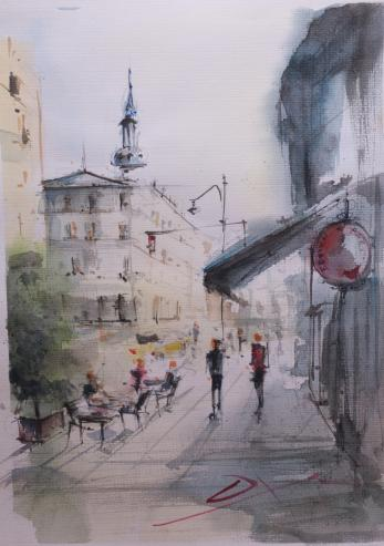 Tablou, Daniel Zlota, - Hotel Continental - acuarela si tus, 42x30 cm